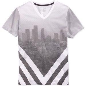 Guess Chevron Cityscape Short Sleeve T-Shirt
